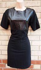 TOPSHOP BLACK WET LOOK FAUX LEATHER DETAIL BODYCON PENCIL MINI PARTY DRESS 10 S