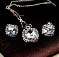 18k White Gold Filled Made with Swarovski Crystal Necklace Earring Set N176IE96