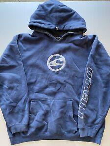 Vintage 90s O'Neill FadeD Blue Brand Logo Spell Out Hoodie Sweatshirt Sz L RARE
