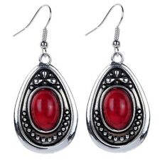 Vintage Style Tibetan Silver Plated Carved RED TURQUOISE Drop Earrings Jewelry