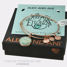 """Authentic Alex and Ani """"You Are Enough"""" Shiny Rose Expandable Charm Bangle"""