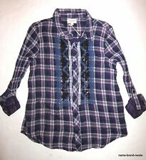 Sweet by MISS ME NWT Purple Plaid Shirt Juniors M Button Down Long Sleeve NEW