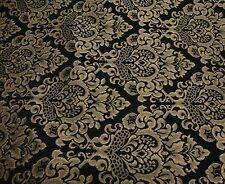 upholstery Chenille Damask Print Black Gold Cleopatra furniture fabric sold Bty