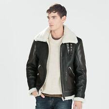 Zara Man synthétique marron Shearling Doublé en faux cuir aviateur veste M