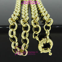 Real Solid Women Girl 9k Yellow Gold GF Necklace Belcher Chain Bolt Rings Clasp
