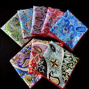 Men's Paisley Flower Cotton Pocket Square Handkerchief Wedding Party Hanky