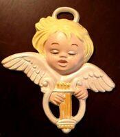 Vintage 1977 Handmade Ceramic Angel Ornament Sleeping Cherub Christmas Holiday