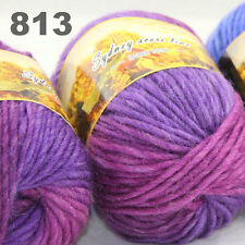 LOT of 3x50gr Skeins NEW Chunky Hand-woven Colors Knitting Scores wool yarn 813