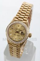 Rolex Ladies President 18K Gold Champagne Diamond Dial & Bezel 69178 Quickset