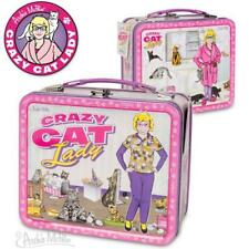 Crazy Cat Lady Pink Retro Tin Snack Lunch Box Kitten Lover