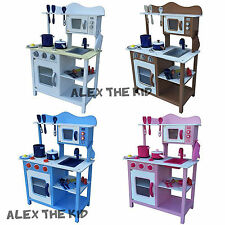 BRIGHT TIMBER TOY KIDS KITCHEN WOODEN PRETEND PLAY 4 COLOURS TODDLERS
