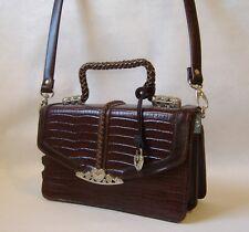 Brown Faux Croc Leather Purse Silver Metal Heart Trim Handbag Shoulder Bag Tote