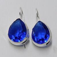 London Blue Topaz 925 Sterling Silver Plated Handmade Jewellery Earrings 7 Gm