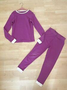 Girl's Cuddl Duds Purple M 7 8 Long Thermals Pajamas