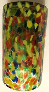 Bambeco Frida Mexican Art Recycled Handblown Multicolor Confetti Glass Vase