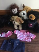 Lot Of 5 Ganz Webkinz- Plush Toy Puppy Dogs- Bear-Monkey + 2 Outfits No Code