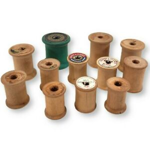 Vintage 1950's Empty Wooden Sewing Thread Spools Variety (Pack of 12)