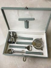 Global Views India Celadon Green Stitched Leather Boxed Bar Tools Set