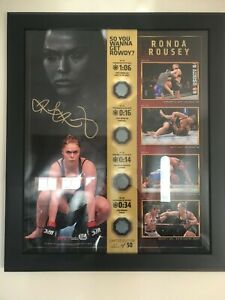 Ronda Rousey signed UFC plaque with 4 fight used canvas Fanatics Auenthentic COA