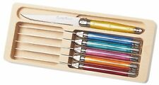 Set of 6 Colourful Laguiole Steak Knives With Coloured Handles in Wooden Tray