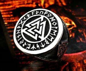 Stainless Steel Viking Vikings Thor Valknut Runes Mens Large Statement Ring