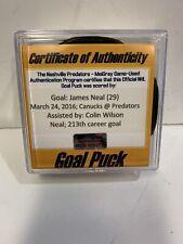 GAME USED SCORED GOAL PUCK JAMES NEAL NASHVILLE PREDATORS Autographed VGK