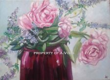 original oil painting folk art flowers peony peonies pink bouquet mint VOHS