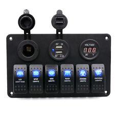 12V/24V Waterproof Boat Marine 6 Gang LED Rocker Switch Panel Circuit Breaker