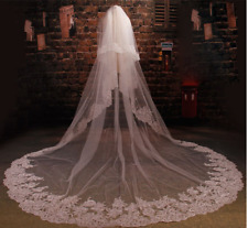White/Ivory Wedding Veil 3 M 2 T Cathedral Bridal Lace Appliques Beading Custom