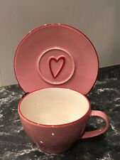 Starbucks Pink Heart Coffee Cup Mug & Saucer Valentine Oversized 12 OZ