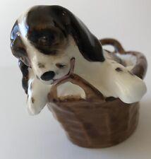 Royal Doulton Dog Figurine Bone China Spaniel in a Basket, Hn 2586 England Mint