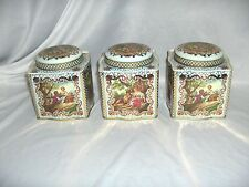 3 Vintage Daher New York Canister Trinket Cookie Storage Tins England  NICE
