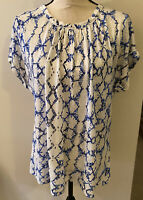 Rebecca Taylor Small blue/white Print Blouse Top 100% Linen Loose Fit EUC⭐️