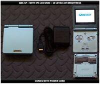 Nintendo Game Boy Advance GBA SP IPS MOD System 10 Level Brightness Pearl Blue