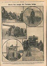 Poilus Armée de Belgique Auto-Mitrailleuse Chiens Canon Bataille Yser 1915 WWI