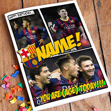 FC BARCELONA Messi FCB **Personalised Birthday Card** FAST Shipping son nephew