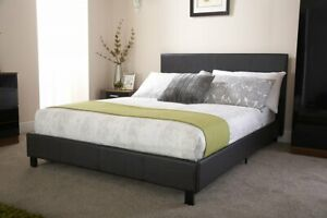 Black Single Bed Faux Leather 3ft Low Frame Stitched Headboard Sprung Slatted
