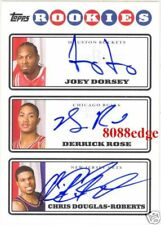 2008 TOPPS ROOKIE PHOTO SHOOT TRIPLE RC AUTO: DERRICK ROSE/JOEY DORSEY AUTOGRAPH