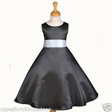 BLACK PAGEANT TODDLER WEDDING FLOWER GIRL DRESS 12-18M 2 3T 4 5T 6 6X 8 10 12 14