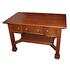 Genuine Antique Oak Mission Style Desk with Three Drawers #4864
