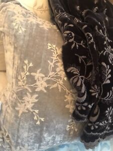 Bella Notte Silk Velvet Embroidered Pillow Cases! DIVINE! French Grey! NEW!