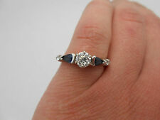 $3,095 Stunning 14k White Gold Natural Blue Sapphire & Diamond Engagement Ring