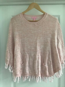 EUC Girl's Pink LILLY PULITZER Fringed Poncho Size L