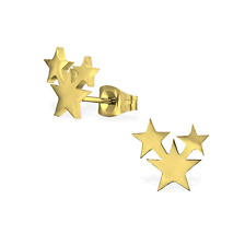 Neue Edelstahl Ohrstecker Ohrringe Sterne Gold Damen Frauen Mädchen Ohrschmuck
