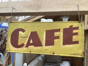 "Original Art Deco sign written vintage old French CAFE sign 31""x13"" not enamel"