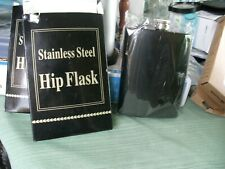 22# New In Box Hip Flask 8oz Black Solid Stainless Steel Attached Screw Cap