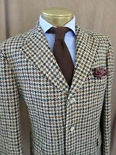 DONEGAL TWEED Magee excellent three button brown houndstooth plaid jacket 42R