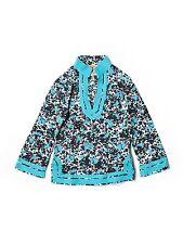 Girl Tory Burch Blue Geometric Rabbits Spring Fall Tunic Top Size Small (4/6)