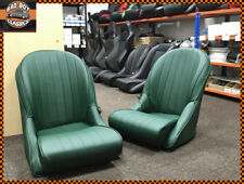 Pair BB Vintage Green Classic Car Bucket Seats Low Rounded Back Universal Design