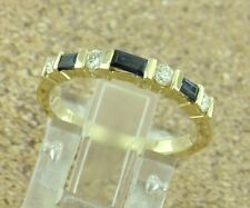14k Solid Yellow Gold Natural Baguette Blue Sapphire & Diamond Ring band 0.52 ct
